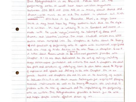 Student Articles: The Natyashatra and Abhinaya Darpana by Abhishree Vaze