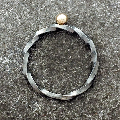 Oxidized Sterling silver and  9ct gold twist ring.