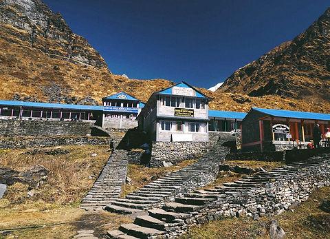 Tea houses in Nepal trek for Everest base camp , Annapurna base camp between high altitude himalayan mountains