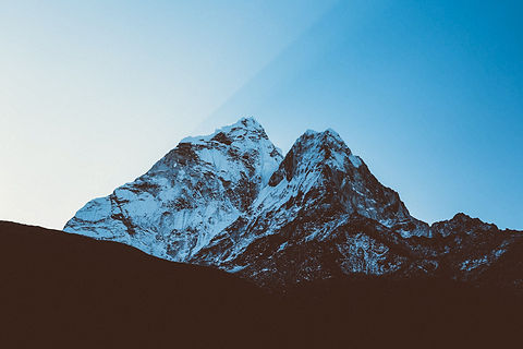 High altitude mountain views in Nepal treks. Snow capped mountains peaks