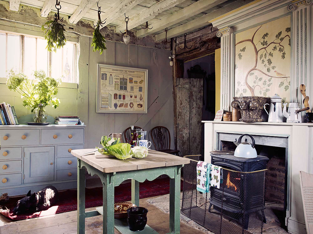 Rustic kitchen with sleeping dog