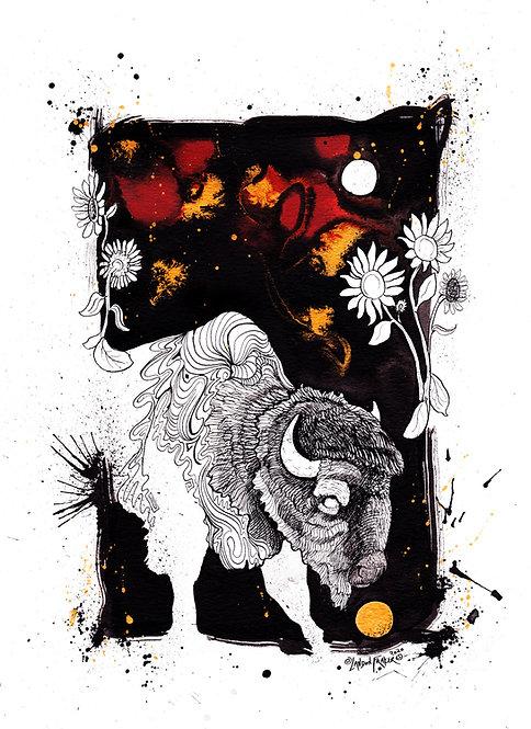 American Buffalo & Wild Sunflowers