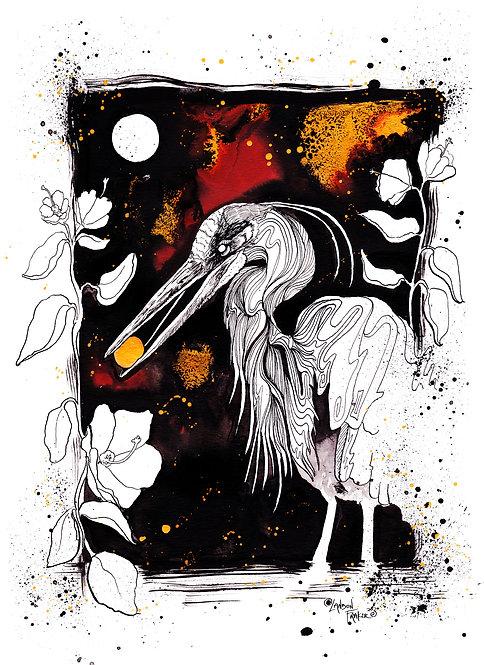 Heron & Swamp Hibiscus
