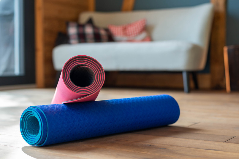Yoga Matte bereit für Workshop