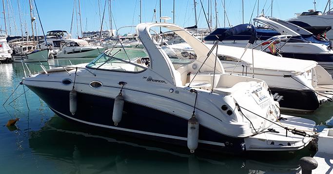 Sea Ray 315 at the mooring / Sea Ray 315 en el amarre