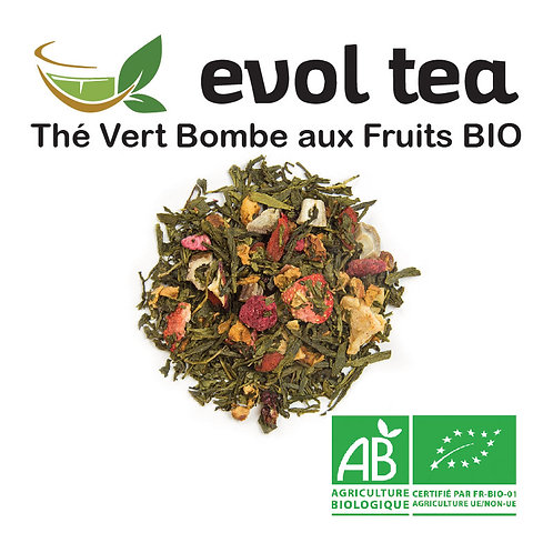 Thé Vert Bombe aux Fruits BIO 100g