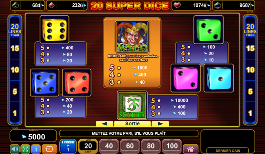 Blog LuckyGames.be - EGT 20 Super Dice Slot Review
