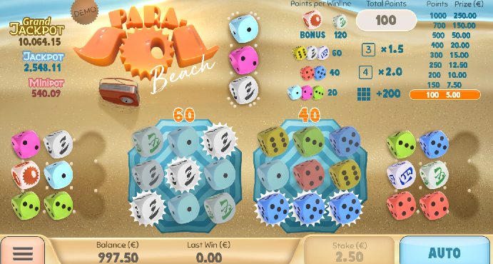 Blog LuckyGames.be - Airdice Parasol Beach Dice Game Review