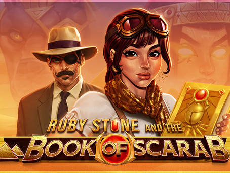 Gaming1 Ruby Stone and the Book of Scarab Dice Slot - Lucky Games Casino