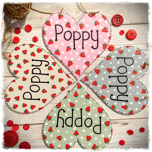 Personalised Wooden Strawberry Heart
