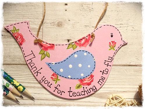 Cute Wooden Bird Sign - Pink
