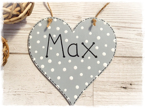 Personalised Spotty Wooden Heart