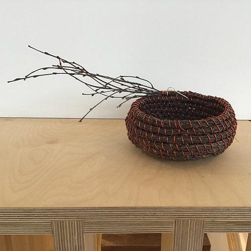 Birch twigs copper coil pot