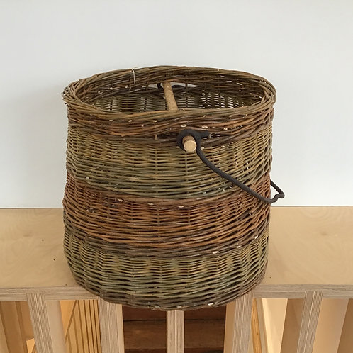Large basket with cauldron handle