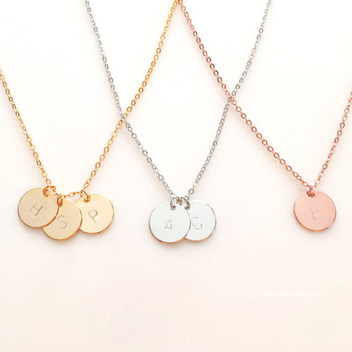 Round pedant charm necklace withlovefromkatie these round pendant charm necklaces are just a 05 in size and polished to perfection it is the absolute perfect size for everday wear to compliment any aloadofball Choice Image