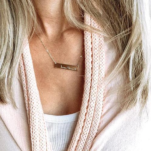 Rose gold bar necklace