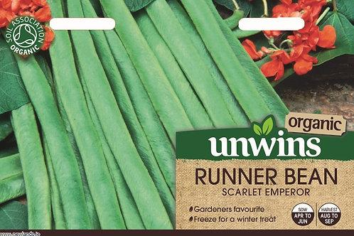 Unwins Organic Runner Bean Scarlet Emperor - Approx 30 Seeds