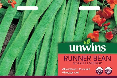 Unwins Runner Bean Scarlet Emperor - Approx 50 Seeds