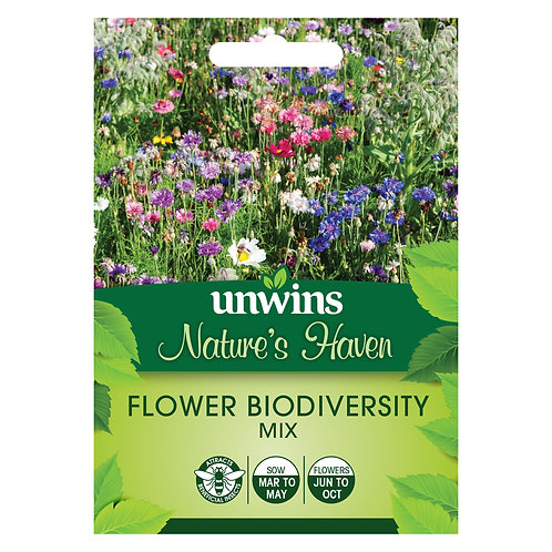 Unwins Nature's Haven Flower Biodiversity Mix - Approx 175 Seeds
