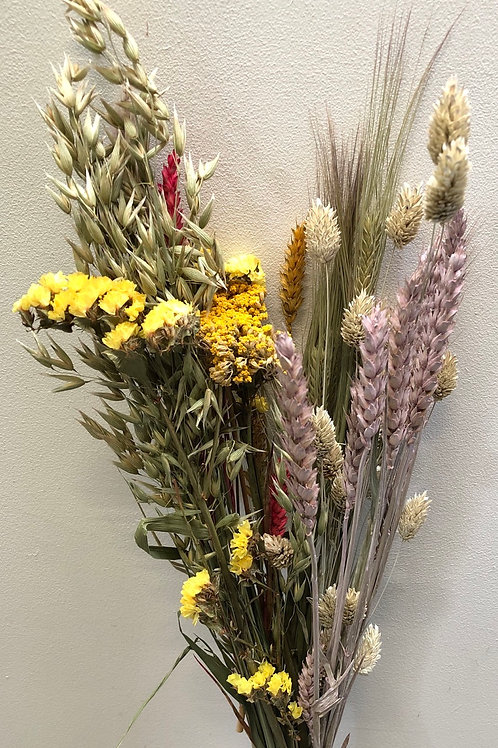 Bouquet Cross Pink & Yellow Mixed (Dried Flowers)