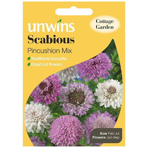 Unwins Scabious Pincushion Mix - Approx 50 Seeds