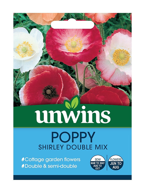 Unwins Poppy Shirley Double Mix - Approx 1000 Seeds
