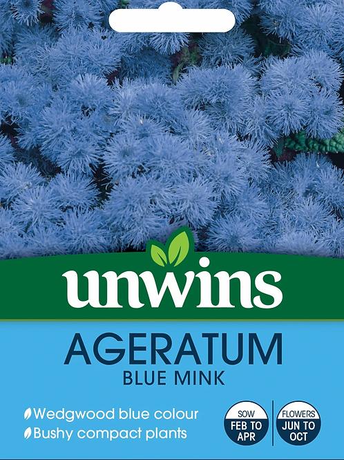 Unwins Ageratum Blue Mink - Approx 1200 seeds