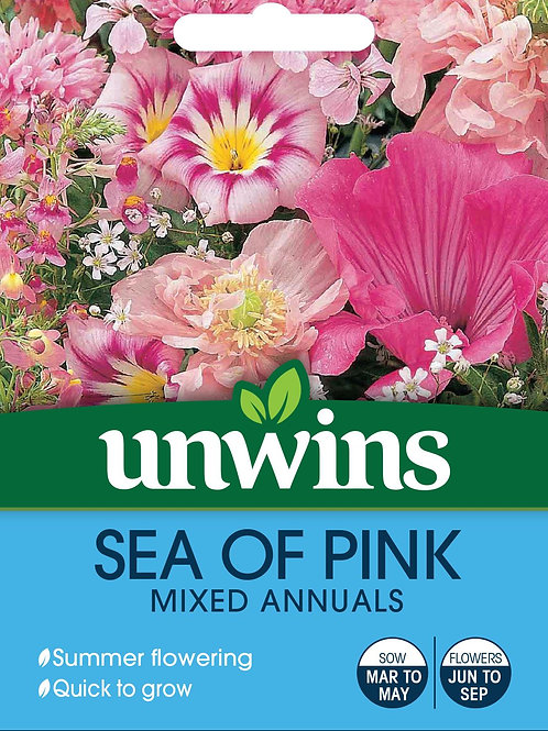 Unwins Sea Of Pink Mixed Annuals - Approx 350 Seeds