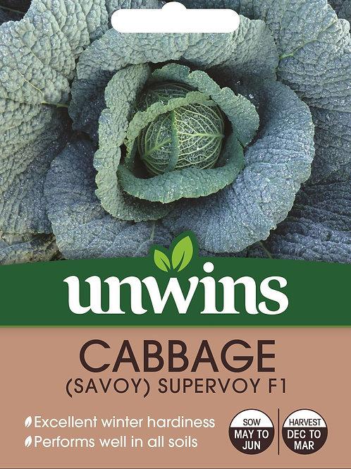 Unwins Cabbage (Savoy) Supervoy F1 - Approx 33 Seeds