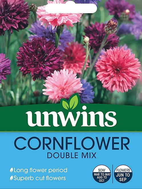 Unwins Cornflower Double Mix - Approx 450 Seeds