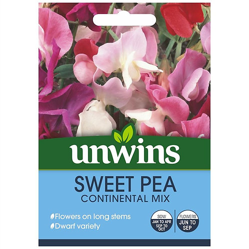 Unwins Sweet Pea Continental Mix - Approx 35 Seeds