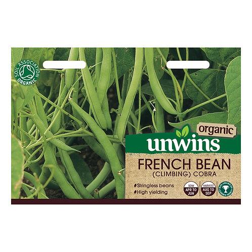 Unwins Organic French Bean (Climbing) Cobra - Approx 25 Seeds