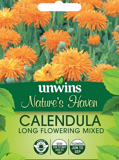 Unwins Nature's Haven Calendula Long Flowering Mix - Approx 130 Seeds