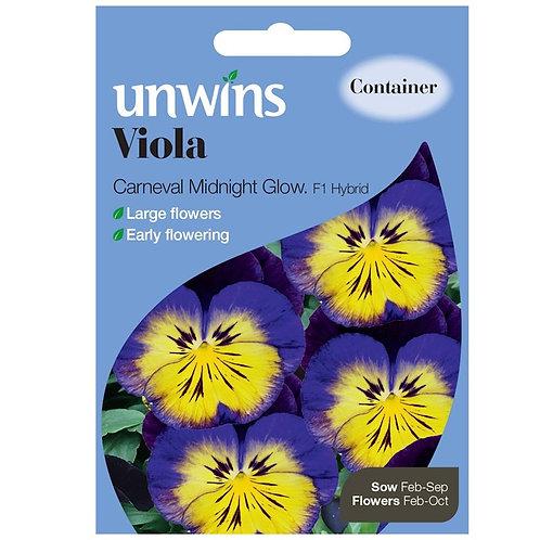 Unwins Viola Carneval Midnight Glow F1 - Approx 25 Seeds