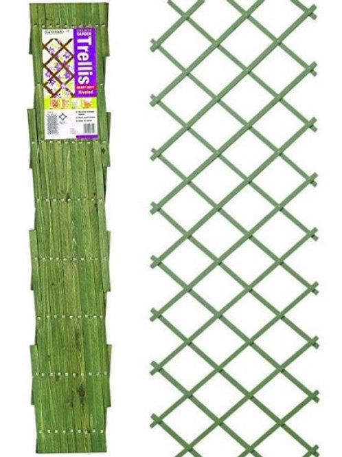 Gardman Riveted Expanding Garden Trellis - Green 1.8m x 0.6m