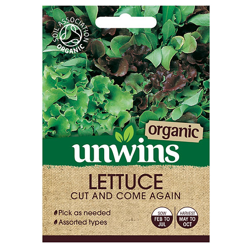 Unwins (Organic) Lettuce Cut And Come Again - Approx 800 Seeds