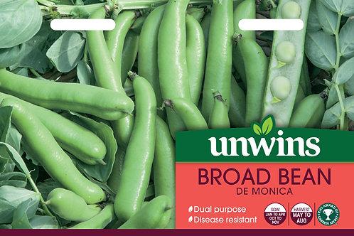 Unwins Broad Bean De Monica - Approx 50 Seeds