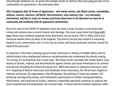 Anti-Asian Racism and Violence Statement