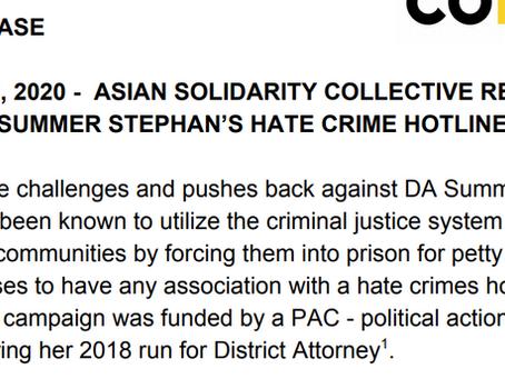 ASC Releases Statement Rejecting DA Summer Stephan's Hate Crime Hotline