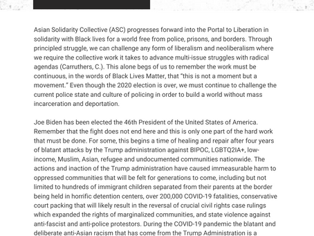 Asian Solidarity Collective's Post-Election Statement