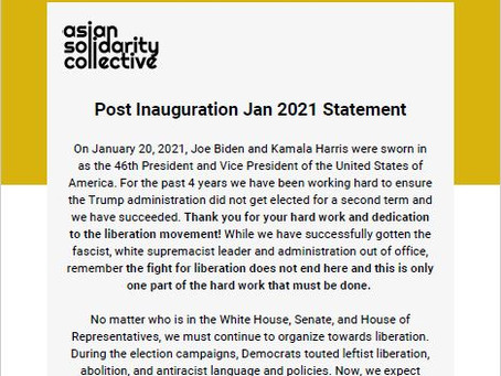 ASC's Post Inauguration Jan 2021 Statement