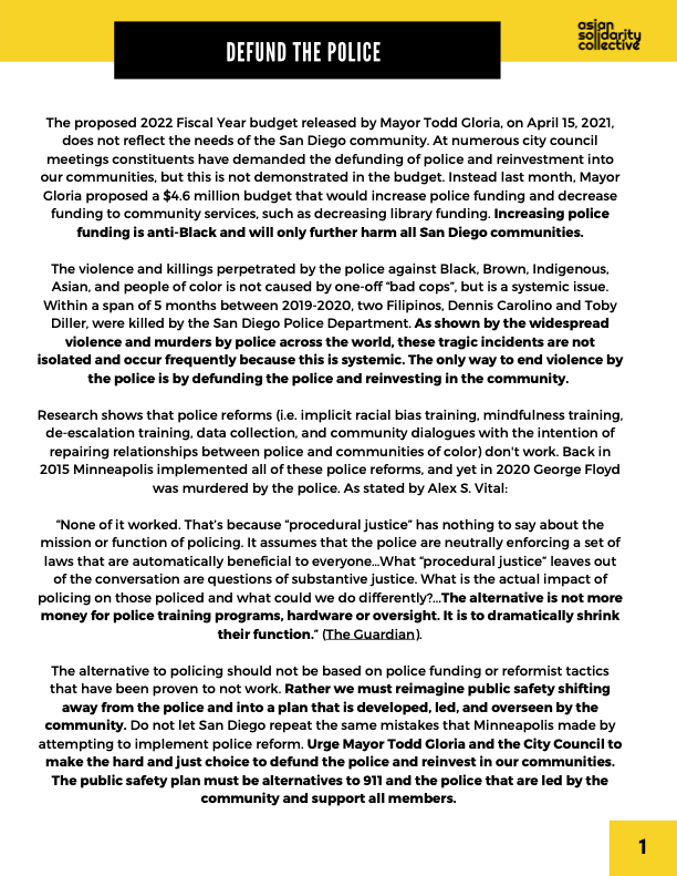 Asian Solidarity Collective's statement on Mayor Gloria's proposed increase to the police budget for the FY22 San Diego City Budget