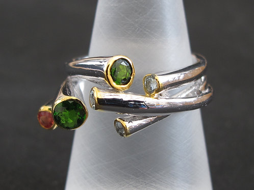 Sterling silver Ring set with Tourmaline, Chrome Diopside and Cubic Zirconias.