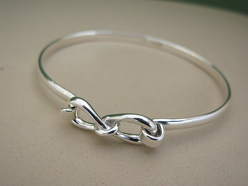 Double loop end silver bangle