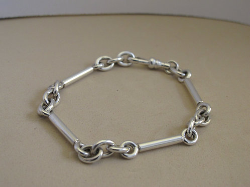 Silver chain and link bracelet