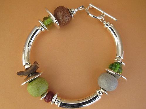 Ceramic Silver Bracelet - Green