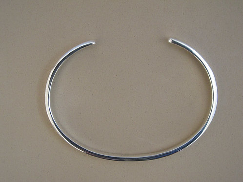 Open  solid silver bangle
