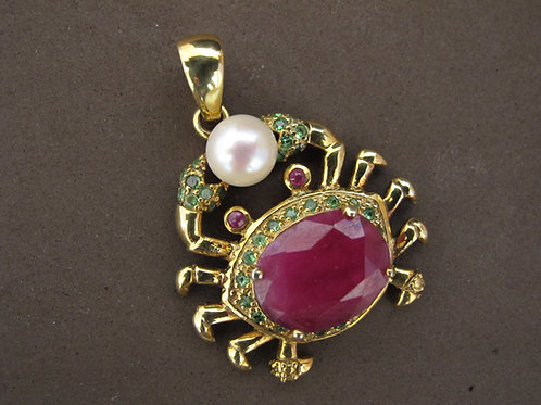 Silver/Gold/Ruby/Pearl Crab Pendant.