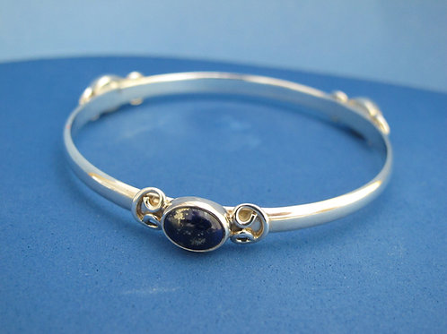 Silver and Lapis Lazuli Bangle