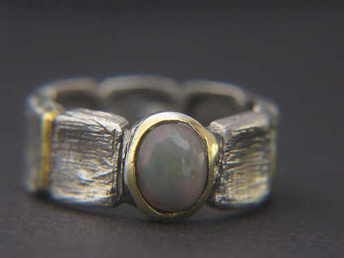 Opal + silver ring